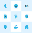 part icons colored set with head palm face and vector image