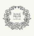 peony wreath floral circle monogram with peonies vector image vector image