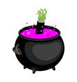 pot with magical potion and hand zombie witch vector image