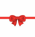 realistic red gift bow with horizontal ribbon vector image vector image