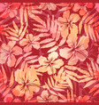 red and pink tropic flowers seamless pattern tile vector image vector image