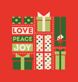retro christmas card with holiday gift boxes vector image vector image