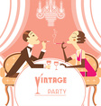 Retro party with couple lovers vector image vector image