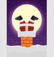 santa claus stuck in chimney on snowy roof vector image