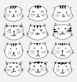 set of cute cat sticker vector image vector image