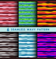 set of seamless wavy pattern vector image