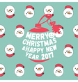 Snowman seamless pattern with merry christmas text vector image vector image