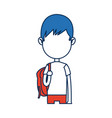 teenager boy student cartoon in blue and orange vector image