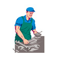 turner worker at work on lathe vector image vector image