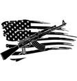 usa flag with an ak 47 rifle vector image vector image