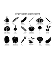 Vegetables black icons vector image