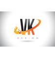 vk v k letter logo with fire flames design and vector image vector image
