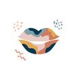wall art design graphic print with boho lips vector image