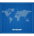world map on blueprint vector image vector image