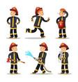 fireman cartoon character set firefighter vector image