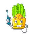 automotive cereus cactus with flower buds cartoon vector image