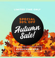 autumn sale poster promotion background design vector image vector image