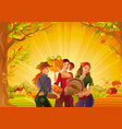 autumn thanksgiving landscape background young vector image vector image