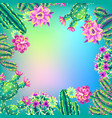 background with cacti and flowers vector image vector image