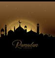 beautiful ramadan kareem scene with glowing mosque vector image vector image