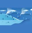 beautiful winter scenery landscape small village vector image