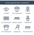 botany icons vector image vector image