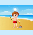 boy playing a sand with shovel vector image vector image