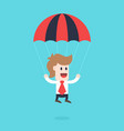 businessman cartoon character - guy with parachute vector image
