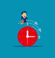 businesswoman running on clock representing vector image