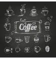 Chalk drawings Set of coffee cups