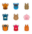 children backpack icon set flat style vector image vector image