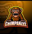 chimpanzee mascot esport logo design vector image vector image