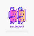 civil disorder thin line icon soldiers in helmets vector image