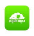 cloud data icon green vector image