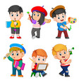 collection of the children doing the paint vector image