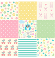 Cute Baby Seamless Set vector image vector image