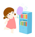 cute girl wiping the dust from bookshelf vector image vector image