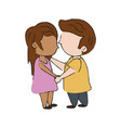 cute kids in love cartoon vector image vector image
