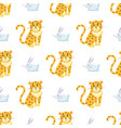 cute leopards and rabbit seamless pattern vector image