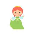 cute little fairytale princess girl wearing green vector image vector image