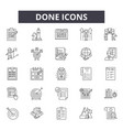 done line icons signs set outline vector image vector image