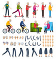 elderly people orthogonal constructor icons vector image vector image