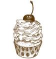 engraving cupcake vector image