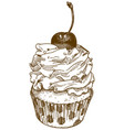 engraving of cupcake vector image
