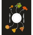 fast food and vegetables vector image