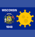 flag wisconsin state with outbreak viruses vector image vector image