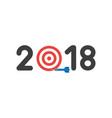 flat design concept of 2018 word with bulls eye vector image vector image