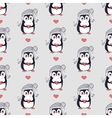 Funny Penguins Seamless Pattern in Flat vector image vector image
