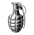 grenade hand draw vintage style black and white vector image