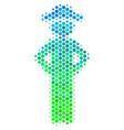 halftone blue-green gentleman akimbo icon vector image vector image